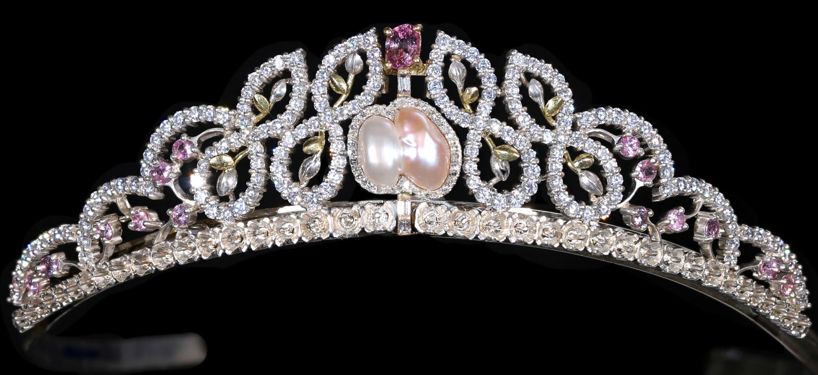 The Victoria tiara in Pink Sapphire, two color pink and with baroque pearl, with Diamonds in hallmarked 18ct Gold and Silver